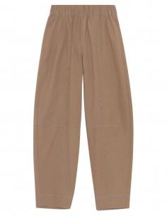 Ganni beige cotton crepe pants for women - FW21