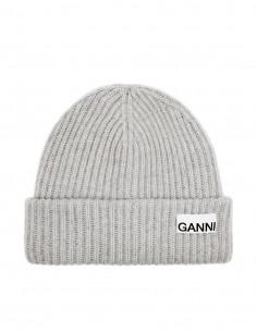 Ganni grey ribbed wool beanie for women - FW21