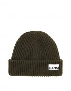 Bonnet kaki en laine côtelé Ganni pour femme - FW21