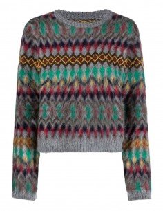 MAISON MARGIELA grey wool sweater with multicolored patterns for women - FW21