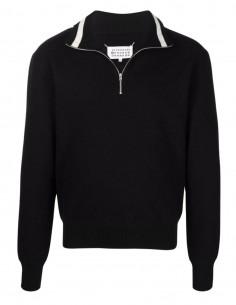 Maison Margiela black boiled wool trucker sweater for men - FW21