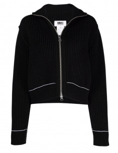 MM6 black zipped cardigan with trucker collar for women - FW21