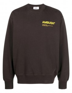 Ambush brown sweatshirt with yellow logo on the chest for men - FW21
