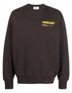 Sweat marron logo jaune poitrine Ambush pour homme - FW21