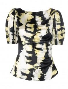 Ganni puff-sleeve silk top for women - FW21