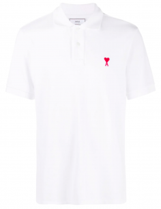 Logo Polo Shirt «heart» red embroidered - white